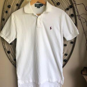 Polo men's small white w/maroon logo polo shirt.
